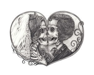 Art Couple Wedding Skull Tattoo. Hand drawing on paper.