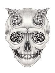 Art Surreal Devil Skull Tattoo. Hand drawing on paper.