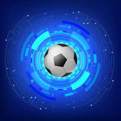 Soccer ball with Technology modern background