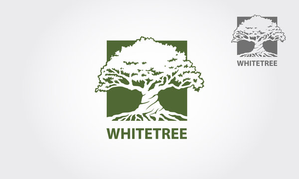 White Tree Vector Logo. The main symbol of the logo is a tree, this logo symbolizes a togetherness, protection, peace, growth, Trust, Unity, etc