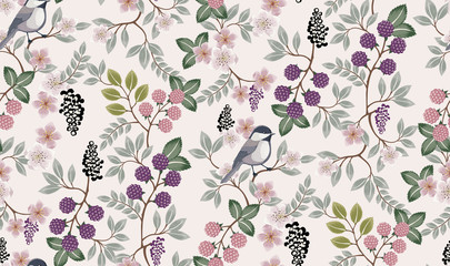 Wall Mural -  Vector illustration of a seamless floral pattern with cute birds in spring for Wedding, anniversary, birthday and party. Design for banner, poster, card, invitation and scrapbook