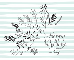 happy valentines day card with set of leafs