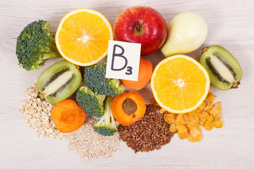 Fototapeta Ingredients and products containing vitamin B3 and other natural minerals, healthy nutrition concept obraz