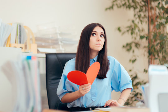 Office Woman Receiving Valentine Card from Secret Admirer