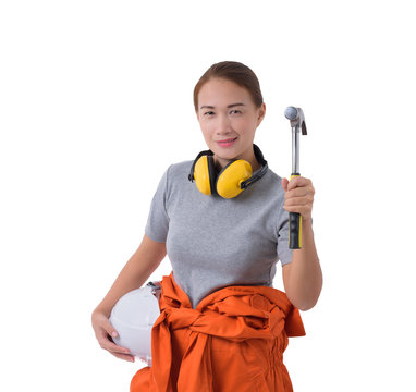 portrait of a woman worker in Mechanic Jumpsuit hand holding hammer isolated on white background