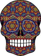 illustration of skull with colorful dots, design inpired in huichol art and traditional mexican sugar skulls isolated on white
