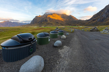 Waste sorting bin in natural attractions for tourists at at Uttakleiv Beach  in Leknes, Lofoten island, Norway