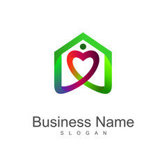 house care logo, love house logo design