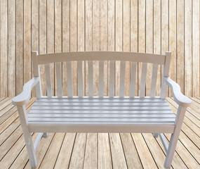 banc créole en bois blanc sur fond terrasse bois brut
