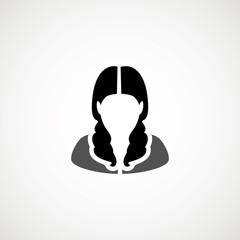User Icon - Woman. Female Vector Flat People Person Profile Avatar in glyph Pictogram Symbol illustration. Male web sign, art object. Silhouette of guy. Avatar picture app.