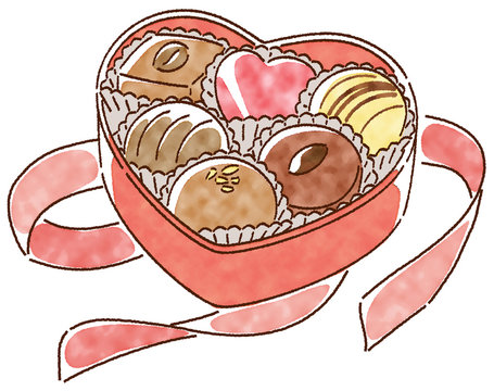 Valentine's chocolate watercolor style
