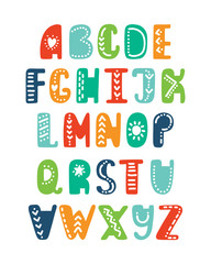 Alphabet in scandinavian style. Funny cartoon letters. Vector hand drawn elements for print, poster, tshirt, playroom, nursery, apparel decoration, greeting card.