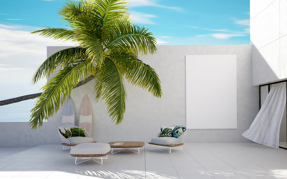 Tropical summer, luxury villa with palm, summer concept, 3d render
