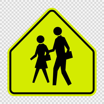School Zone Sign on transparent background