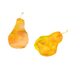Bright yellow watercolor pears