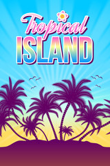 Tropical island illustration with palm trees and sunset or sunrise in the background.