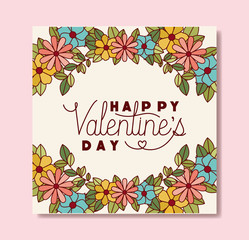 happy valentines day card with floral crown