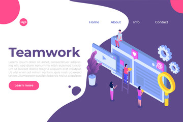Teamwork success isometric vector illustration. Construction project.  Building Business on the internet.