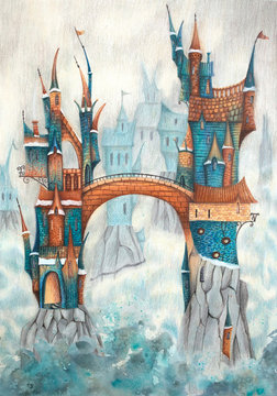 Magical house (castle, city) on the rocks in the fog. Colour pencils hand drawing illustration.