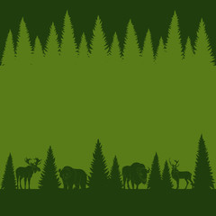 Background of silhouettes of wild forest animals and trees. Vector illustration.