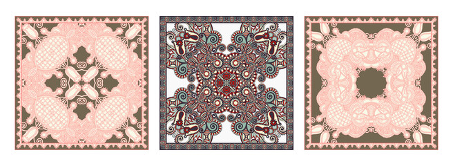 set of traditional kalamkari ornamental floral paisley design