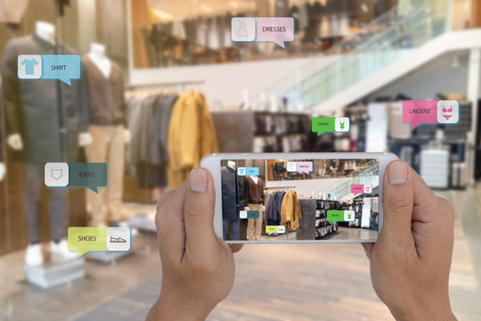 internet of things marketing concepts,smart augmented reality,customer hold the mobile phone to see  the product that search by ai application with hot deal,promotion code, where Clothing department