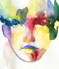 Deurstickers Aquarel Gezicht abstract face. watercolor painting