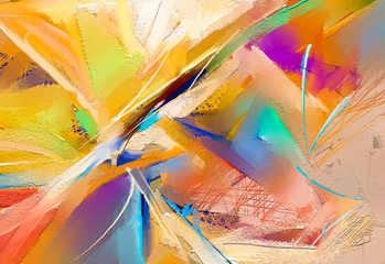 Obraz Abstract colorful oil, acrylic painting on canvas texture. Hand drawn brush stroke, oil color paintings background. Modern art oil paintings with yellow, red color. Contemporary art for background - fototapety do salonu