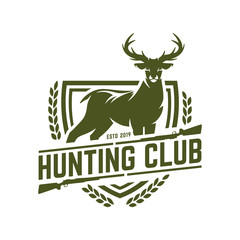 Hunting logo, hunt badge or emblem for hunting club or sport, deer hunting stamp
