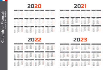Calendrier 2020, 2021, 2022, 2023