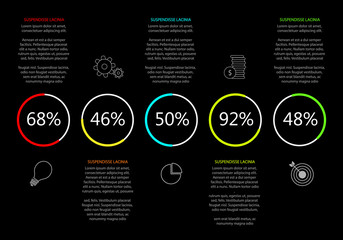 Vector Infographic with analysis graphs and simple icons - black style