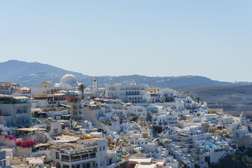 Amazing Panoramic view to bay of Sanorini island, Thira, Cyclades, Greece