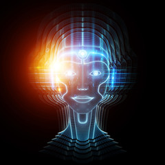 Robot cyborg head artificial intelligence learning 3D rendering