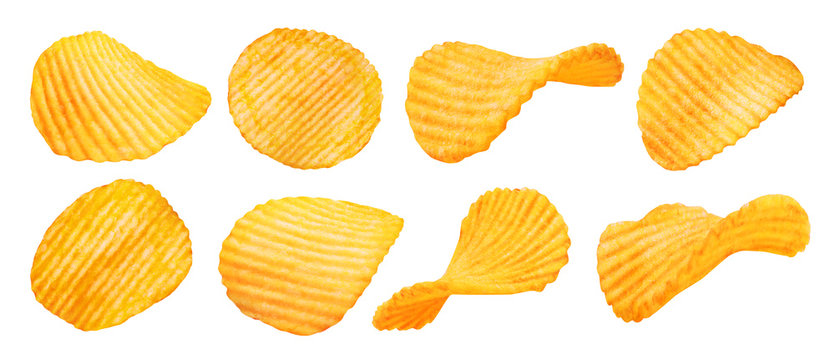 Potato ridged chips isolated on white background