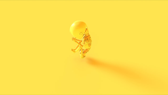 Yellow Futuristic Artificial Intelligence Embryo Baby 3d illustration 3d render