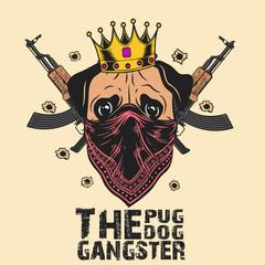 gangster pug dog Print on T-shirts, sweatshirts and souvenirs. Brutal pug gangster . Vector illustration - Images vectorielles