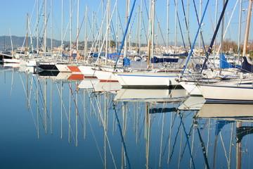 France, côte d'azur, Cannes, Port Canto, voiliers et reflets, nautisme.