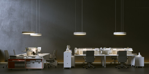 modern office in minimalistic dark environment 3d rendering