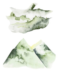 Watercolor double exposure elements. Handpainted watercolor mountains set. Use for postcard, print, invitations, packaging etc.