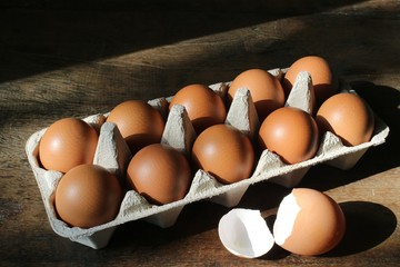 Eggs and egg shell on the wooden table.