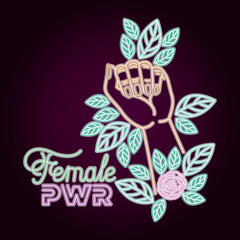 woman day neon label with hand fist and roses