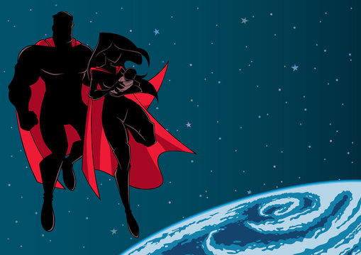 Super Mom Dad and Baby Space Silhouette
