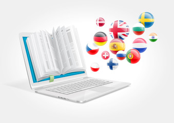 A laptop with a book for learning foreign languages. The e-learning system.