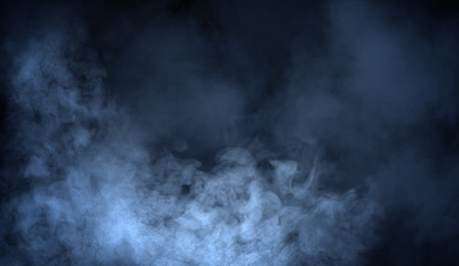Blue fog and misty effect on black background. Smoke texture overlays