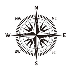 Navigation compass or wind rose icon. Vector retro nautical or marine cartography map with North, South