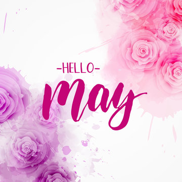 Hello May - floral spring concept background