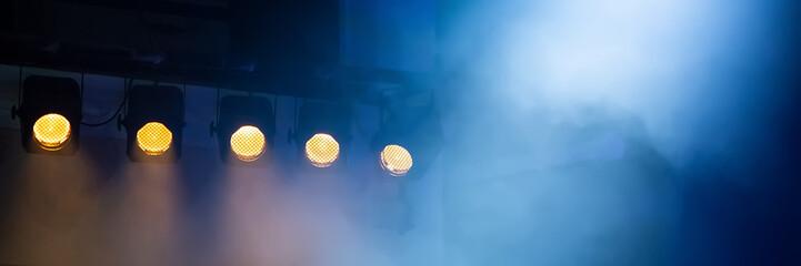 light theatrical spotlights. Banner for design.
