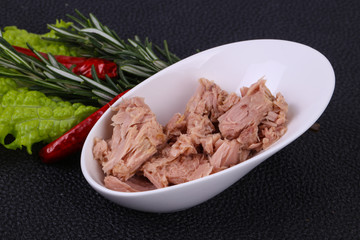 Tasty canned tuna fish in the bowl