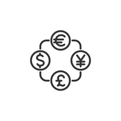 Vector illustration of currency exchange line icon.