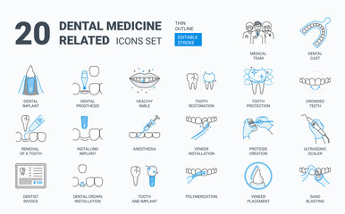 Dental icons set.